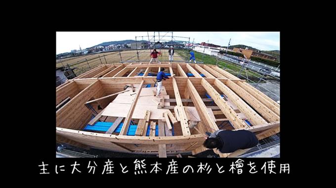 ウッディ工房のログハウスは全て国産の木材(主に大分県産と熊本産)を使用